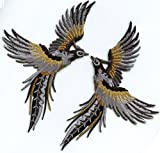 Phoenix phenix birds gray black gold embroidered appliques iron-on patches pair S-1301