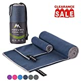 ARNUWA Microfiber Camping Travel Towel Quick Dry Ultra Absorbent Compact, Navy Blue M