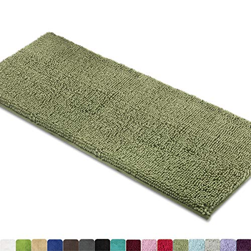 (MAYSHINE Bath mat Runners for Bathroom Rugs,Long Floor mats,Extra Soft, Absorbent, Thickening Shaggy Microfiber,Machine-Washable, Perfect for Doormats,Tub, Shower (27.5x47 inches, Sage)