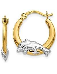 14K Gold & Rhodium Dolphin Hoop Earrings (0.59 in x 0.55 in)