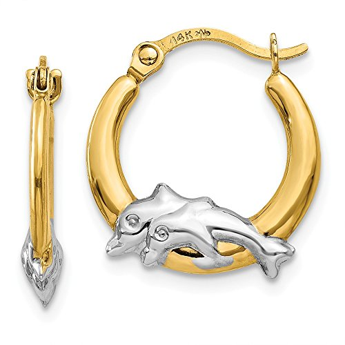 14K Gold & Rhodium Dolphin Hoop Earrings (0.59 in x 0.55 in)