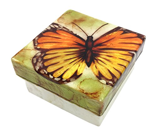 Kubla Craft Monarch Butterfly Capiz Shell Keepsake Box, 3 Inches Square
