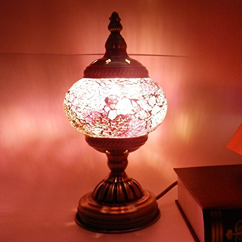 SINOVO amazing Handmade Christmas Table Lamps Moroccan Mosaic Glass Table Lamps Turkish Desk Bedside Lamps with Bronze Base America Plug - Lamp Table Purple Mosaic
