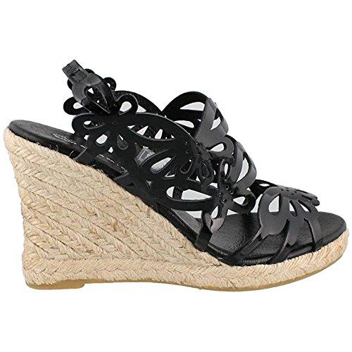 Eric Michael Jillian Women Open Toe Leather Wedge Heel, B...