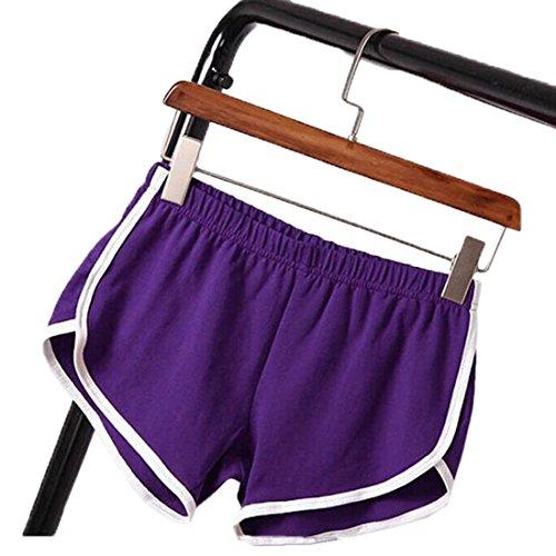 2018 Estivo Donna Pantaloncini Casual Spiaggia Shorts Sportivi Bianco Righe Cucitura Jogging Fitness Yoga Elasticizzati Corto Pantaloni Viola