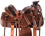 Manaal Enterprises Size 14″ 15″ 16″ 17″ 18″ Wade Tree A Fork Premium Western Leather Roping Ranch Work Horse Saddle TACK Headstall, Breastplate