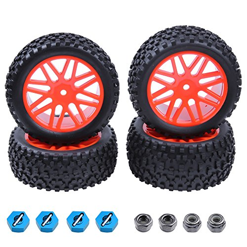 (Hobbypark 4pcs Front & Rear Tires Wheel Rim Set for RC Redcat 1/10 Buggy Shockwave Nitro Redcat Tornado S30 EPX (PRO) HSP Backwash Warhead ExceedRC EP SunFire)