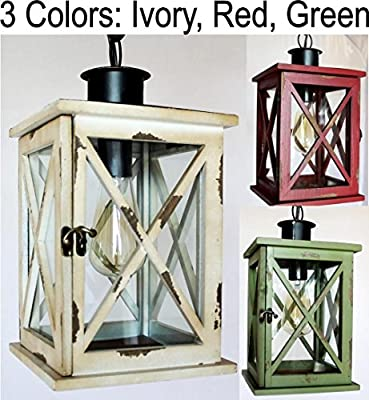 Wood & Glass Lantern Swag Lamp Pendant Light Rustic Primitive Vintage Farm