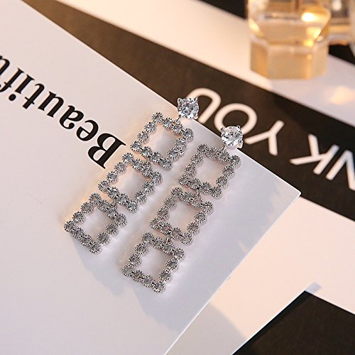 (s925 sterling silver rectangular diamond earrings exaggerated long section style earrings earrings fashion)