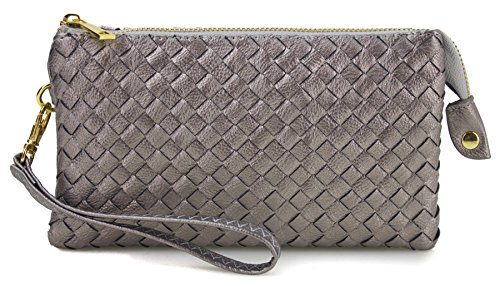 Proya Collection Classic Soft Woven Leather Wristlet Clutch (Silver)