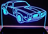 1970 1/2 Firebird Trans Am Acrylic Lighted Edge Lit 12'' Reflective Black Mirror Base 15 LED Sign Light Up Plaque 70 VVD9 Made in the USA