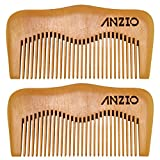 Wood Beard Mustache Comb by ANZIO, Handmade Pocket & Travel Size With or Without PU Leather Credit Card ID Money Holder (Pear Wood - 2 Units)