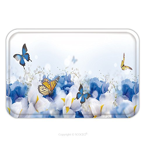 Flannel Microfiber Non-slip Rubber Backing Soft Absorbent Doormat Mat Rug Carpet Amazing Butterfly Fairy Of Flowers Hydrangeas And Iris 519402208 for Indoor/Outdoor/Bathroom/Kitchen/Workstations