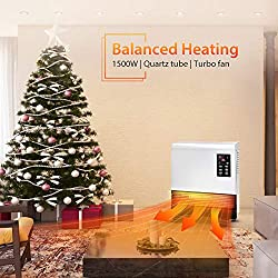 Electric Space Heater - 1500W Wall Mount Heater with Standing Base, with Thermostat, Energy Saving, Timer Function, 3 Modes, Quick Heat Room Heater, Electric Heater for Bathroom, Bedroom