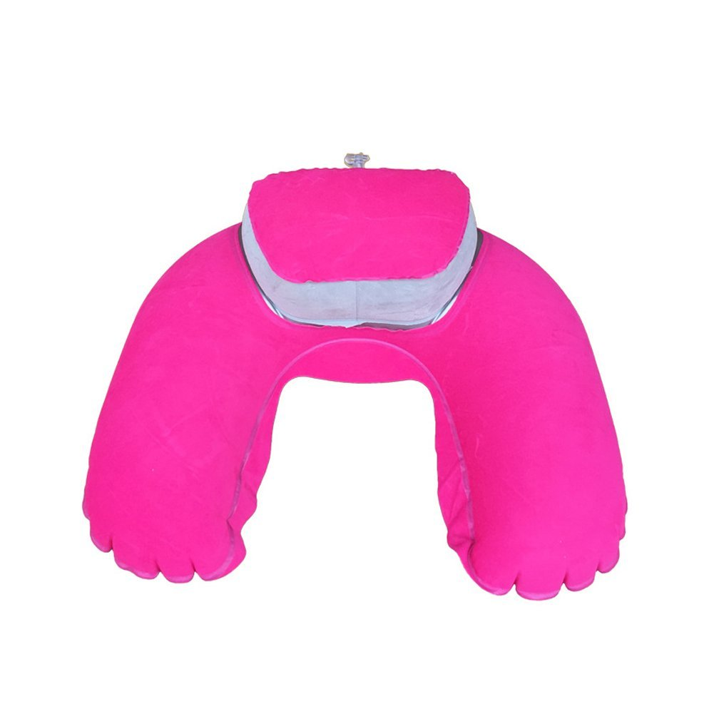 Inflatable Travel Pillow Head Neck Rest Soft Cushion with Velour Cover Sleep Mask and Earplugs Aszune