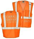 Custom Kamal Ohava Ultra-Cool Reflective Safety Pocket Vest, Orange, 2XL