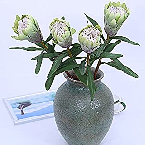 Leezeshaw 3/5/9Pcs Artificial Protea Cynaroides Flowers Fake Simulation Greenery Plants for Wedding Home Garden Store Lofts Dormitory Decoration 83