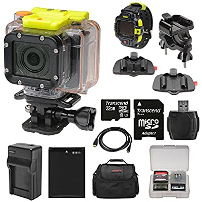 Coleman Conquest2 Wi-Fi HD Video Action Camera/Camcorder & LCD Watch Remote with Handlebar Bike & Adhesive Mounts + 32GB Card + Battery + Charger + Case + Kit