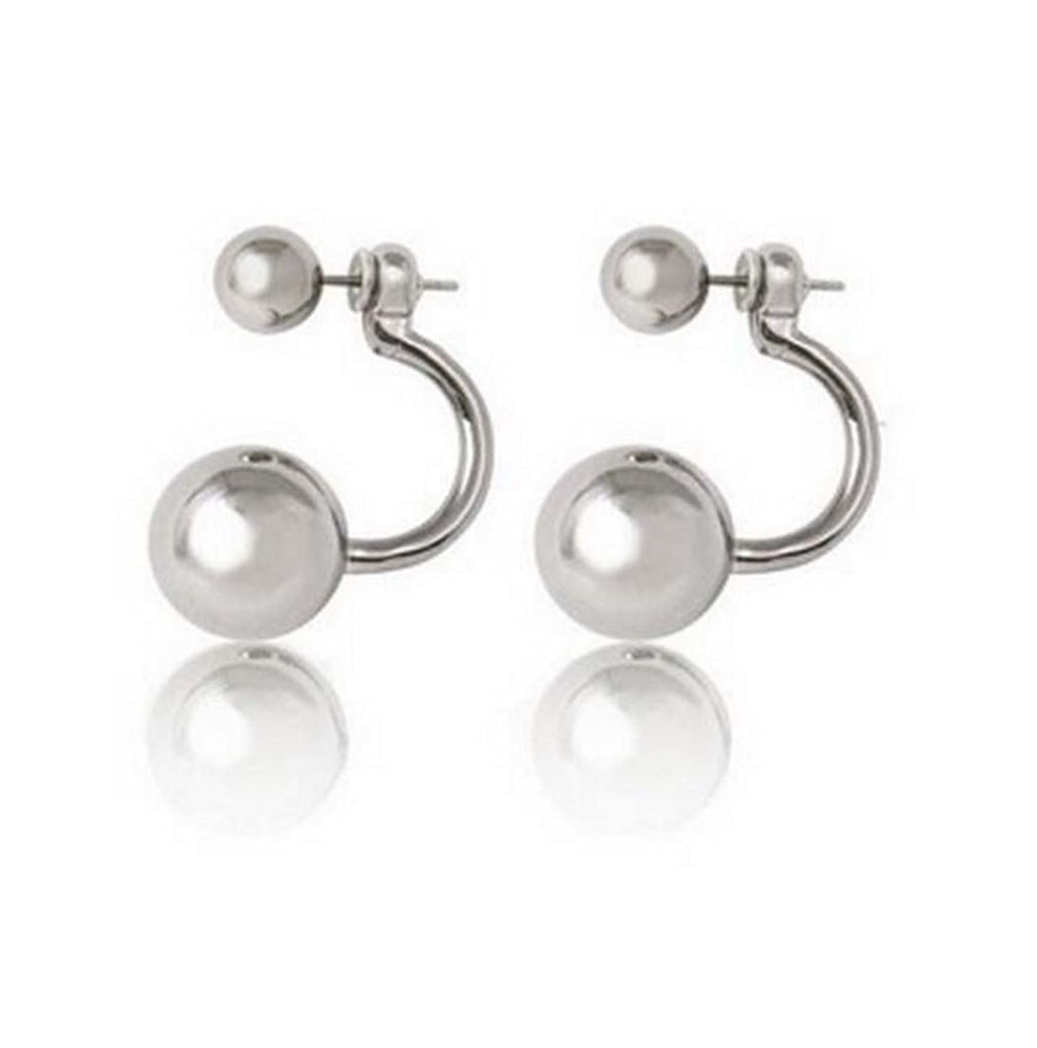 Affordable Wedding Jewelry Silver Tone New Trend Double Sided Ear Jacket Ball Stud Earrings