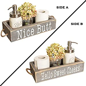 Nice Butt Bathroom Decor Box, 2 Sides with Funny Sayings – Funny Toilet Paper Holder Perfect for Farmhouse Bathroom Decor, Toilet Paper Storage, Rustic Bathroom Decor, or Diaper Organizer (Grey)