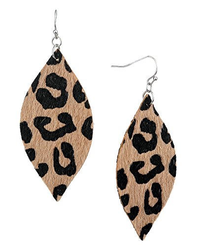 Women's Leopard Print Furry Feel Almond Shaped Dangle Pierced Earrings, Brown (Ladies Leopard)