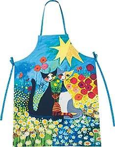 Rosina Wachtmeister Piena Primavera - Delantal, diseño de gatos y flores, color azul