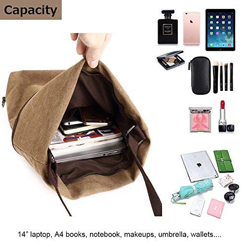 Travistar Canvas Shoulder Casual Backpack Travel Crossbody Women Bag Multifunction Daypack Coffee Purse O7wqOr4n