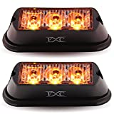 led amber lights - (2PCS) 3-LED Strobe Light Amber Waterproof Emergency Beacon Flash Lights,Purishion Caution Bar 12 Different Flashing Car SUV Pickup Truck Van¡­