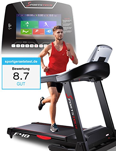 Sportstech F48 Profi Laufband mit 9 Zoll Android WiFi 7.75 PS 20 km/h mit Tablethalterung - klappbar