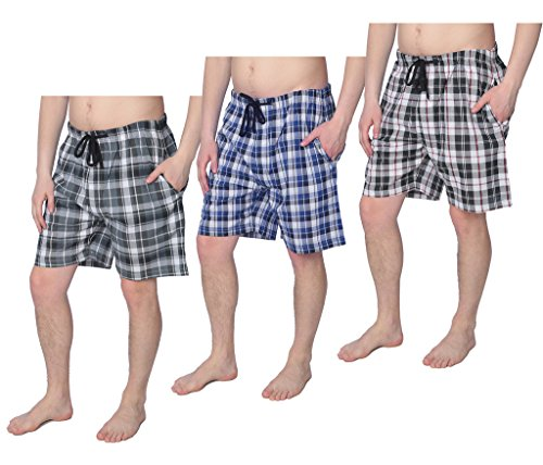 Beverly Rock Mens 100% Cotton Plaid Lounge Sleep Shorts Available in Plus Size Y18_Short_JMP1 3-Pack L by Beverly Rock