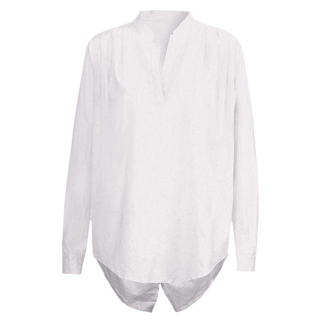 bc1ac2330d150 Amazon.com  KFSO Women Cotton Linen V Neck Solid Long Sleeve Shirt Blouse  Button Down Fold Tops (White