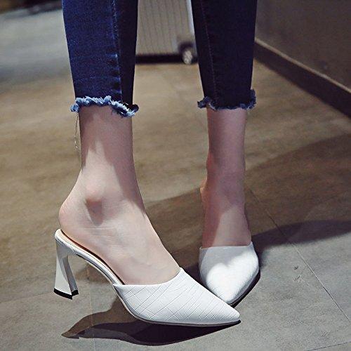 Traino Bianco Il Ed Qingchunhuangtang Alto Pantofole Tacco Primavera In Estate zwzTq8vSB