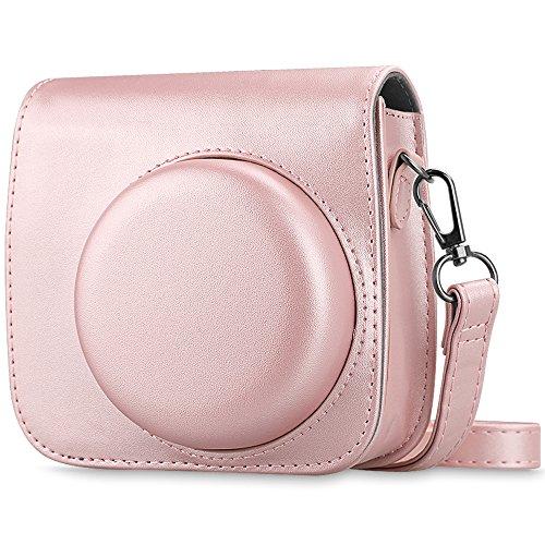 Fintie Protective Case Compatible with Fujifilm Instax Mini 9 / Mini 8 / Mini 8+ Instant Camera - Premium Vegan Leather Bag Cover w/Removable Strap, Rose Gold