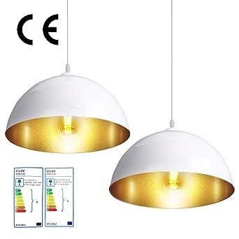 CCLIFE 2 Unidades Vintage Lámpara de techo Lámpara colgante Lámpara vintage lampara industrial Negro o Blanco Casquillo E27 para bombilla Ø300mm, ...