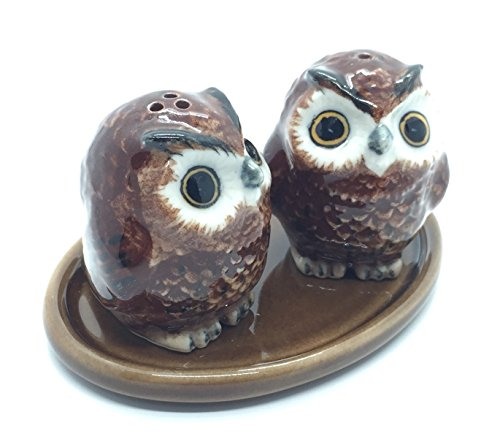 Mexican Pine Armoire (Cute Small Ceramic Owl Salt and Pepper Shakers Set Hand Painted,Tiny salt and pepper shakers)