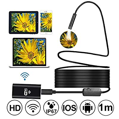 Wireless WiFi Endoscope, PROSTORMER HD 720P Borescope Inspection Camera in Soft Cable with 8pcs Adjustable LEDs for iPhone, Android Phone, Samsung, MacBook, Tablet (3.3FT)
