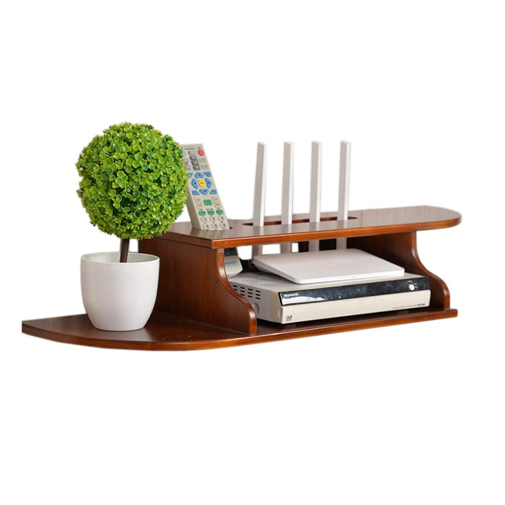Pine light walnut color trumpet Set Top Box Shelf Solid Wood Router Storage Box Simple Wall Hanging Wire Finishing Rack, 4 colors (color   Pine White Trumpet)