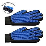 Wellbro Upgraded Pet Grooming Glove, Double Sided Deshedding Brush Glove with Long Silicone Tips, Gentle and Efficient Pet Hair Remover, Massage Mitt for Dogs, Cats or Horses (Pack of 2)