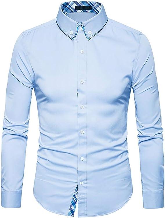 Camisa Delgada de Manga Larga para Hombre Camisa sólida ...