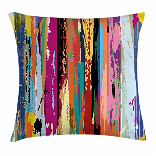 Ambesonne Abstract Throw Pillow Cushion Cover, Multicolored Expressionist Work of Art Vibrant Rainbow Design Tainted Pattern, Decorative Square Accent Pillow Case, 16 X 16 Inches, Multicolor