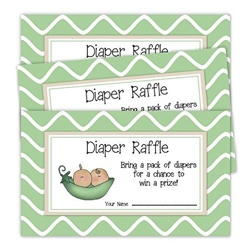 (Sweet Pea Diaper Raffle Tickets, Baby Shower Favor, Baby Shower Invitation Insert, Green Peas, Baby Shower Game (20 tickets))