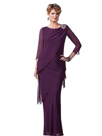 a329e9548d1 Kelaixiang Purple Chiffon Mother of The Bride Dress Long 3 4 Sleeves ...
