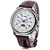 GUANQIN GQ20022 Male Auto Mechanical Watch Moon Phase Calendar 24 Hours System Men Bangle Wristwatch (Brown)