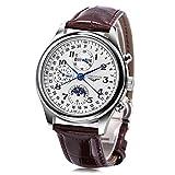GUANQIN gq20022macho Auto mecánico reloj fase de la luna Calendario sistema de 24horas Pulsera Hombres reloj de pulsera, Marrón
