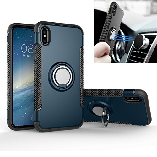 Price comparison product image iPhone 8 Case with 360 ° Kickstand Rotating Ring Case Dual Shockproof Protection Cover Compatible with Magnetic Car Mount for iPhone8 (Navy)