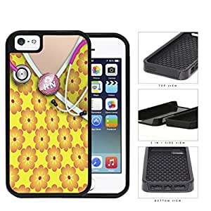 Cute RN Nurse Yellow & Orange Flowers Pattern Scrubs with Stethoscope iPhone 5 5s (2-piece) Dual Layer High Impact Cell Phone Case