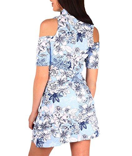 KRISP Vestido Mujer Cóctel Flores Verano Estampado Hombros Descubiertos Azul
