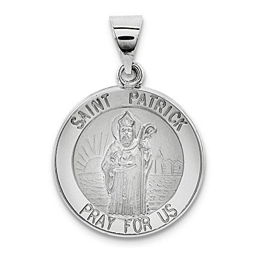 Or blanc 14 carats et poli satiné St. Patrick'Médaille-JewelryWeb