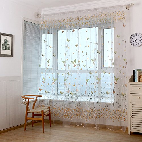 WPKIRA Home Decor Window Treatments Perspective Colorful Butterfly and Flowers Print Tulle Voile Door Sheer Curtain Drapes Rod Pocket Top Room Divider…