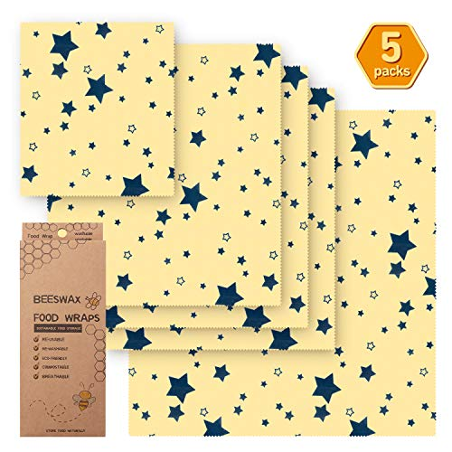 Beeswax Wrap Assorted 5 Packs, Eco Friendly Reusable Food Wraps, Biodegradable, Sustainable Plastic Free Food Storage (Yellow star)